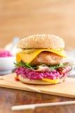 五颜六色的鸡乳酪汉堡 免版税库存图片
