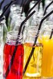五颜六色的鸡尾酒或汁液,与秸杆的射击在小玻璃瓶 库存照片