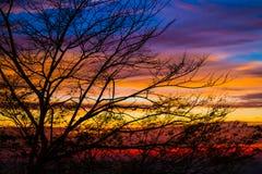 五颜六色的黄昏 五颜六色的日落 库存照片