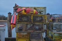 五颜六色的龙虾放置在木的浮游物、陷井和尼龙绳索 免版税库存图片