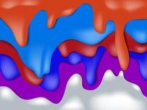 五颜六色的滴水下落流动在被转达的小河下  免版税库存图片