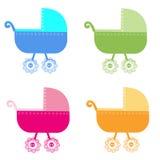 五颜六色的婴儿车传染媒介背景 库存图片