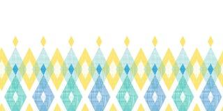 五颜六色的织品ikat金刚石水平无缝 免版税库存照片