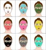 五颜六色的黏土面具和身体 免版税库存照片