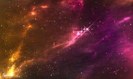 五颜六色的满天星斗的外层空间背景 导航党飞行物、海报,印刷品或者其他的例证设计 向量例证