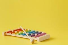 五颜六色的婴孩木琴用棍子 免版税库存照片