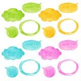 五颜六色的水彩传染媒介讲话泡影 免版税库存照片