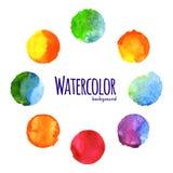 五颜六色的水彩圈子 免版税库存图片