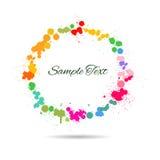 五颜六色的水彩在圈子飞溅 免版税库存图片