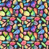 五颜六色的水彩宝石样式,美好的水晶样式 免版税库存照片