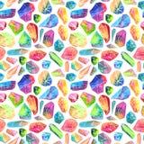 五颜六色的水彩宝石样式,美好的水晶样式 图库摄影