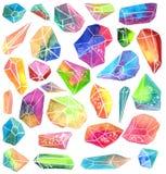 五颜六色的水彩宝石 免版税图库摄影