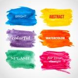 五颜六色的水彩横幅。 免版税图库摄影