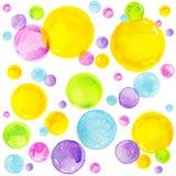 五颜六色的水彩泡影 古老背景黑暗的纸水彩黄色 图库摄影