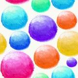 五颜六色的水彩球无缝的样式 免版税库存照片