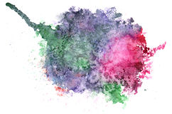 五颜六色的水彩飞溅白色背景 免版税库存照片