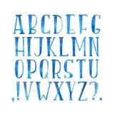 五颜六色的水彩水彩画字体类型手写的手凹道abc字母表信件 皇族释放例证