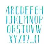 五颜六色的水彩水彩画字体类型手写的手凹道abc字母表信件 库存例证