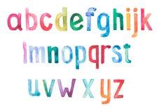 五颜六色的水彩水彩画字体类型 库存图片