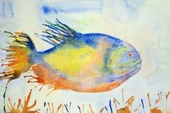 五颜六色的幻想鱼在浅兰的水中 免版税库存图片