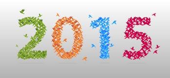 五颜六色的2015新年origami样式纸鸟 向量 免版税库存照片