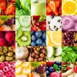 五颜六色的水果和蔬菜拼贴画背景 免版税库存照片