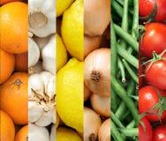五颜六色的水果和蔬菜背景拼贴画 库存图片
