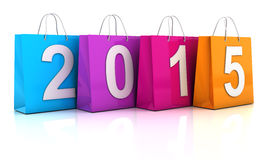 五颜六色的购物袋与2015年 免版税库存照片