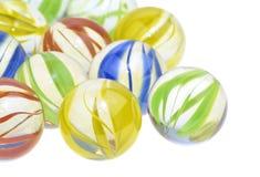 五颜六色的玻璃大理石,关闭 免版税库存照片