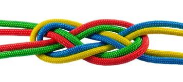 从五颜六色的绳索的海洋领带 免版税库存照片