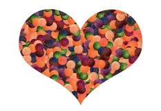 五颜六色的轻的球心脏 免版税库存照片