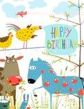 五颜六色的滑稽的动画片农厂家畜 免版税库存照片