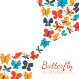 五颜六色的蝴蝶剪影减速火箭的背景  皇族释放例证