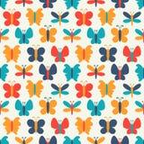 五颜六色的蝴蝶的减速火箭的无缝的样式 库存例证