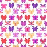 五颜六色的蝴蝶的逗人喜爱的无缝的传染媒介样式 库存图片