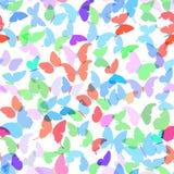 五颜六色的蝴蝶设置了在白色背景的夏天无缝的样式 向量 图库摄影