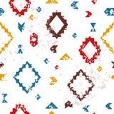 五颜六色的年迈的几何阿兹台克种族难看的东西无缝的样式,传染媒介 免版税库存照片