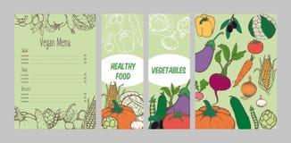 五颜六色的素食菜单模板 库存照片