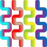 五颜六色的3d之字形被隔绝的背景 向量 免版税库存照片