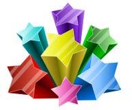 五颜六色的3D星爆炸 库存图片