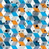 五颜六色的3d空间格子覆盖物,与几何形状, eps10的复杂的欧普艺术背景 科学技术题材 免版税库存照片