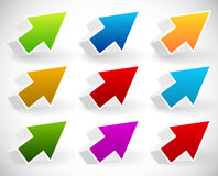 五颜六色的3d箭头集合 免版税库存照片