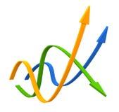 五颜六色的3D箭头数据条 免版税库存照片