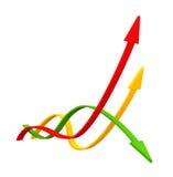 五颜六色的3D箭头数据条 免版税库存图片