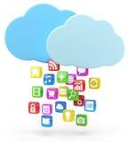 五颜六色的app图标和云彩 免版税库存照片