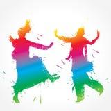 五颜六色的bhangra和gidda舞蹈家 免版税图库摄影