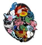 五颜六色的koi鱼和花 免版税图库摄影