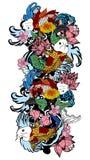 五颜六色的koi鱼和花 免版税库存图片