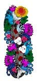 五颜六色的koi鱼和花 库存图片