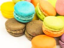 五颜六色的macaron曲奇饼 免版税库存图片